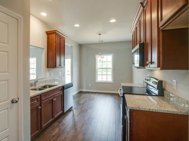 Homes in Crooked Creek have granite countertops, stainless appliances and vinyl plank flooring.