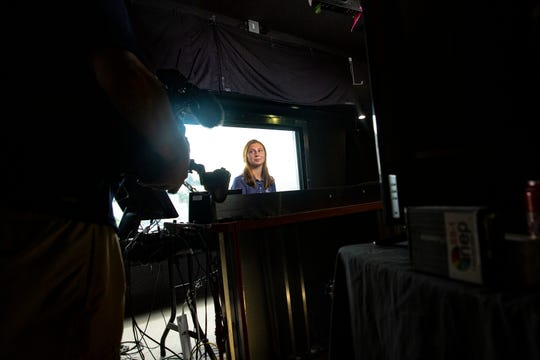 Sophie Shrader,a senior at St. John Neumann High School and a member of The First of Naples/Collier records a promotional video for the Golf Channel, Thursday, Feb. 13, 2020, at the Lely Resort. The video will be shown during the tournament's broadcast.