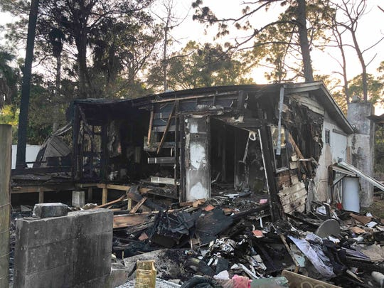 The home of Di Sheehan, located in the 600 block of Everett Street, is pictured after it was destroyed in a fire on Feb. 9, 2020.