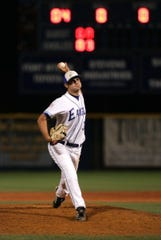 FGCU's Richard Bleier delivers a pitch against Notre Dame on March 16, 2007. The Eagles won the game 5-3, and it also was the first ever win against a Division I opponent for FGCU.