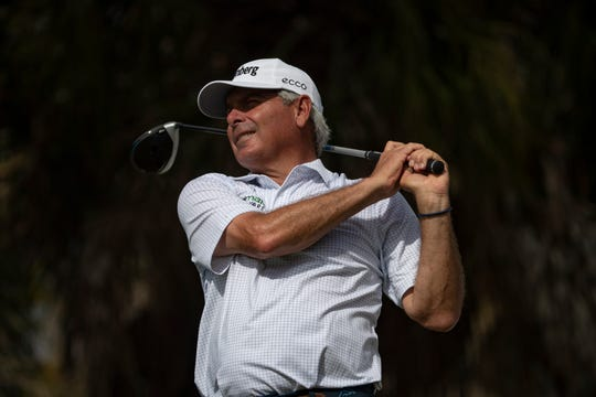 Fred Couples tees off at the 17th during the second day of the Chubb Classic Pro-Am, Thursday, Feb. 13, 2020, at the Lely Resort.