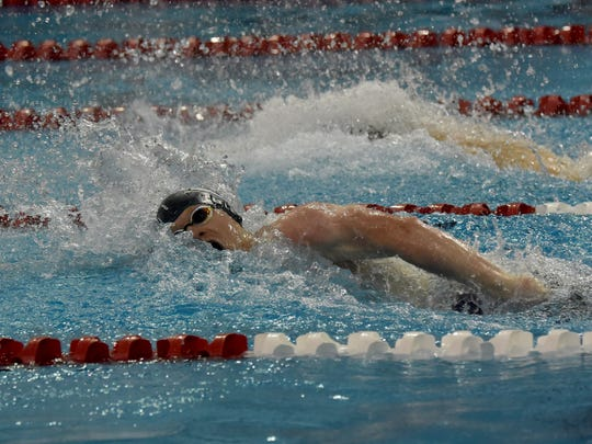 Granville senior Ben Litle competes in the Division II district swim meet in February. He qualified for the ISCA International Junior Cup Championship in St. Petersburg, Florida, but it was cancelled because of the coronavirus pandemic.