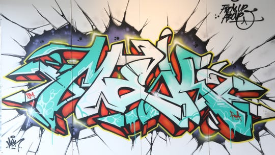An untitled work from 2019 by Dave Mek One Klama is part of the Morris Museum's presentation, Aerosol, an exhibit featuring graffiti street art from various street artists.