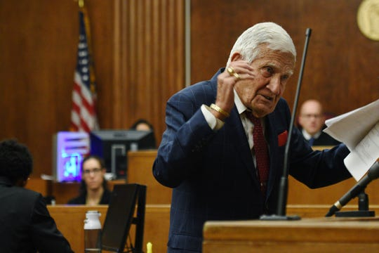 Attorney Frank Lucianna, 97, delivers his opening arguments to the jury in a murder trial in Superior Court in Bergen County on February 12, 2020. Lucianna, a criminal defense attorney for 69 years, has no plans to retire. He is representing Adrienne Smith, who is charged with first-degree murder in the killing of her husband, Randolph Smith.