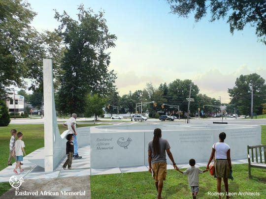 A rendering of the proposed Enslaved Africans Memorial in Teaneck.