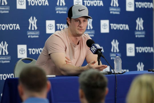 New York Yankees' pitcher Gerrit Cole speaks during a news conference after a spring training baseball workout Thursday, Feb. 13, 2020, in Tampa, Fla.