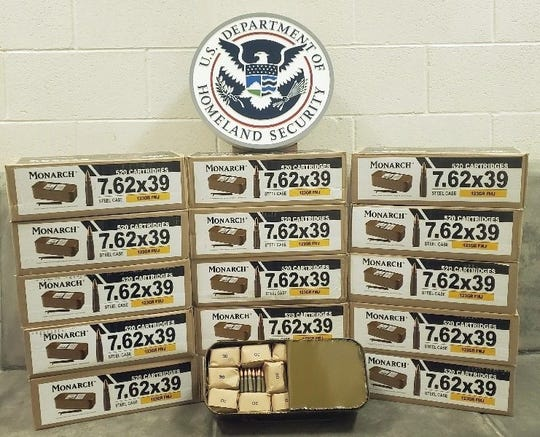 CBP officers located 16 boxes of 7.62 caliber ammunition hidden under a blanket in the rear seat and floor of the car. Each box contained 520 rounds of ammunition.