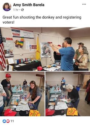 "A Facebook post by Otero County GOP chairwoman Amy Smith  Barela includes a photos of a man aiming a weapon described as a laser training gun used for target practice at a rainbow-colored donkey piñata at the party's information table at a gun show in Alamogordo, New Mexico on February 8 or 9, 2020. The description says, ""Great fun shooting the donkey and registering voters!"""