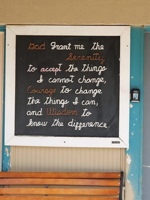 """""""The Serenity Prayer"""" greets people to Carlsbad's Alano Club. A ten year lease between the Club and the Carlsbad City Council was approved Feb. 11 by the Carlsbad City Council."""