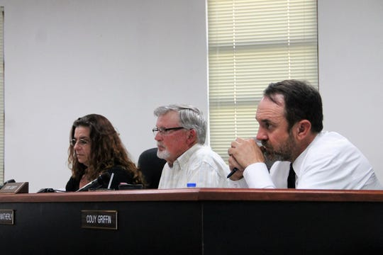 The Otero County Commission at their regular meeting Feb. 12.  From left: Otero County Commission Vice-Chairwoman Lori Bies, Otero County Commission Chairman Gerald Matherly and Otero County Commissioner Couy Griffin.