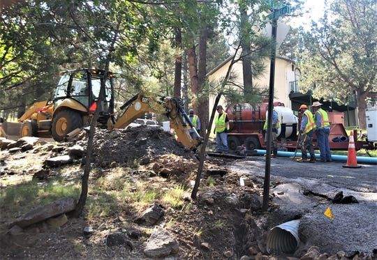 To eliminate water leaks such as this one on High Loop Road, old water lines are being replaced through the use of revenue from the general obligation bonds approved by voters.