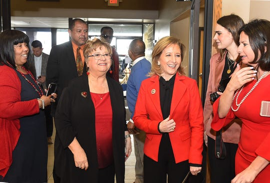 First Lady Donna Edwards, right, arrives at the Opelousas Civic Center Thursday accompanied by Ginger LeCompte, executive director of the St. Landry-Evangeline United Way. Edwards was the keynote speaker at the eighth annual Women with Heart Banquet.