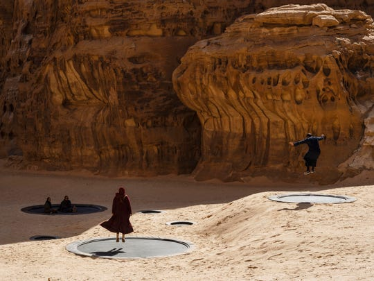 "Manal Al Dowayan's installation ""Now You See Me, Now You Don't"" at Desert X Al Ula in Saudi Arabia"