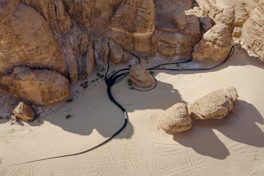 "Muhannad Shono's installation ""The Lost Path"" at Desert X Al Ula in Saudi Arabia"