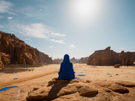 """Lita Albuquerque's installation """"Najma (She Placed One Thousand Suns Over the Transparent Overlays of Space)"""" at Desert X Al Ula in Saudi Arabia."""
