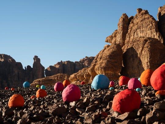 "Mohammed Ahmed Ibrahim's installation ""Falling Stones Garden"" at Desert X Al Ula in Saudi Arabia"