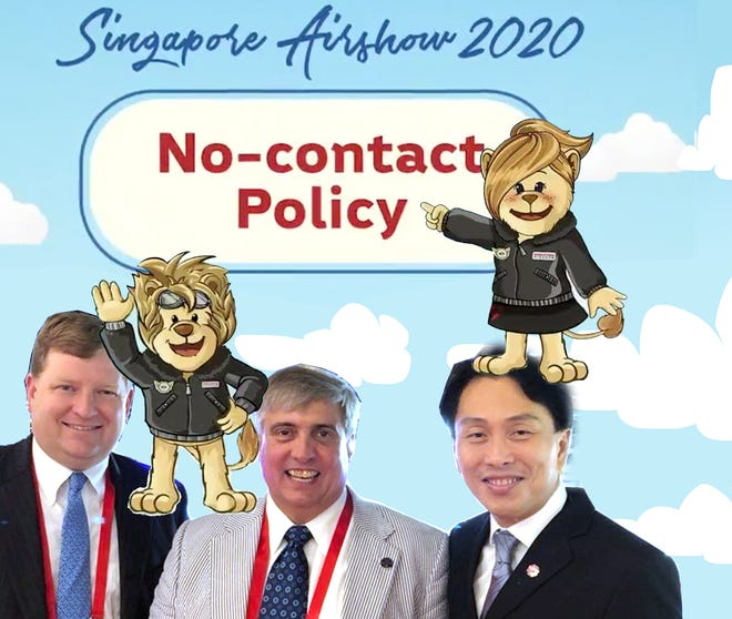 "Grover and Bender adhere to the Singapore Airshow's ""no-contact"" policy!"