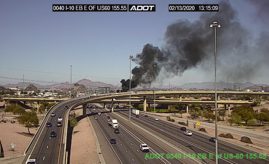 A vehicle on fire has caused a closure of the ramp from eastbound I-10 to US-60 on Thursday, Feb 13.