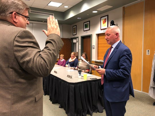 Southern York County school board President Robert Schefter swears in newly-appointed board member John Dorr, Jr. at a special meeting Wednesday, Feb. 12. Dorr previously served on the board from October 2018 to December 2019.