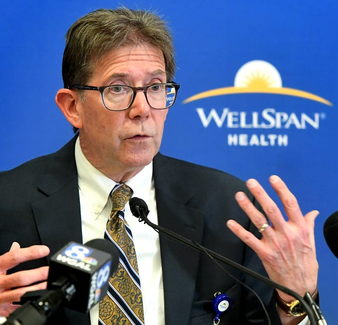 John Porter, executive Vice President and COO of WellSpan Health, speaks during a press conference Thursday, Feb. 13, 2020, announcing the $225 million expansion project at the York Hospital. The project includes construction of an eight-story surgical and critical care tower. Bill Kalina photo