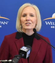 Roxanna Gapstur, president and CEO of WellSpan Health, speaks during a press conference Thursday, Feb. 13, 2020, announcing the $225 million expansion project at the York Hospital. The project includes construction of an eight-story surgical and critical care tower. Bill Kalina photo