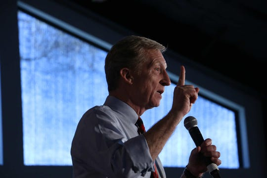 Democratic candidate for president Tom Steyer speaks during a campaign rally at the Elm Estate in Reno on Feb. 12, 2020.
