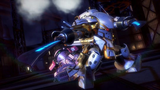 Seijuro Kamiyama, leader of the Imperia Combat Revue's Flower Division, protects squad member Sakura Amamiya with his Koubu mech.