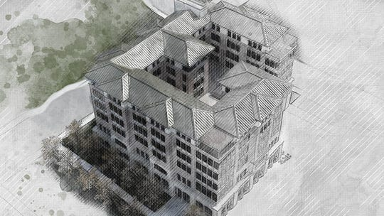 A rendering of a new business building expected to be completed in 2023 in UNR's Gateway District.