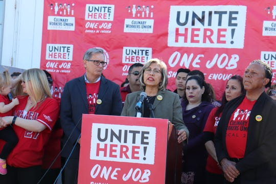 Culinary Union Secretary-Treasurer Geoconda Argüello-Kline revealed the labor organization's decision not to endorse a 2020 candidate in a press conference Thursday.