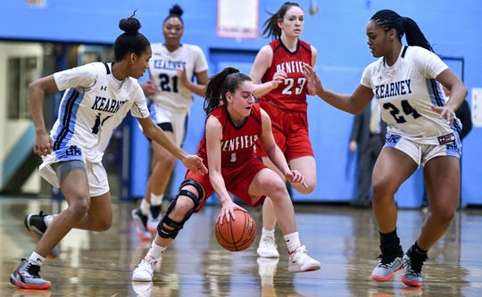 Penfield's Baylee Teal, center, is defended by Bishop Kearney's Camille Wright, left, and Taylor Norris during a regular season game at Bishop Kearney High School, Wednesday, Feb. 12, 2020. Bishop Kearney beat Penfield 56-44.
