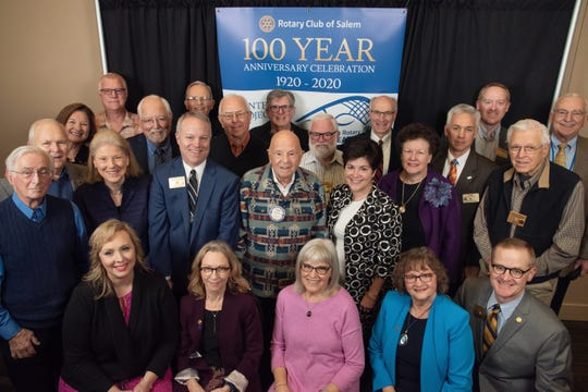 Past presidents of the Rotary Club of Salem gather for a photo during the club's 100th birthday celebration Wednesday, Feb. 5, 2020 at Salem Convention Center.