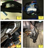 Photos of the guns, meth and packaging materials found during the search of Timothy Vance's hotel room.