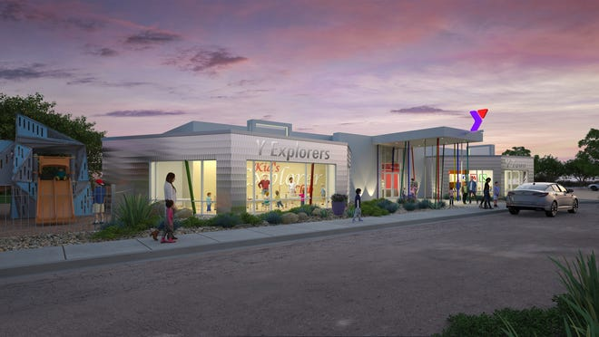 Concept design of front entry of Y-Town of YMCA, rendering from Kinney Franke Architects.