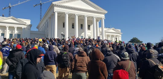 Thousands of people attend the Virginia Citizens Defense League rally on Lobby Day at the Capitol in Richmond.