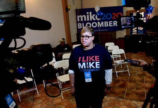 Political Director Kia Bickham speaks to the press at the Mike Bloomberg 2020 Shreveport field office, which opened Wednesday 12, 2020 in downtown Shreveport.