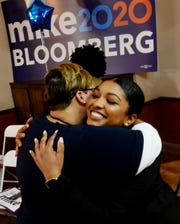 Political Director Kia Bickham hugs Jori LaCour, right, at the Mike Bloomberg 2020 Shreveport field office, which opened Wednesday 12, 2020 in downtown Shreveport.