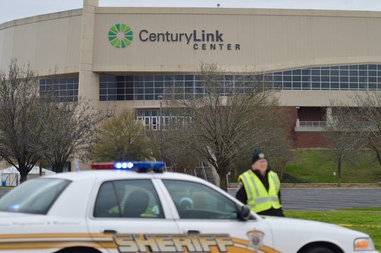 A sheriff deputy blocks an entrance to the CenturyLink Center on Thursday, Feb. 13, 2020. Louisiana State Police are investigating a reported attempted carjacking that ended with a fatal police-involved shooting.
