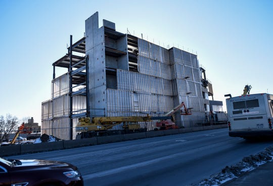 Progress is made on the construction of the First Premier Bank headquarters on Thursday, Feb. 13, 2020 on Minnesota Avenue in Sioux Falls, S.D.