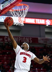 Triston Simpson of USD makes a basket during a game against Western Illinois on Wednesday, Feb. 12, at the Sanford Coyote Sports Center in Vermillion.