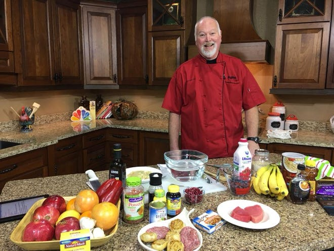 Chef Scott Teal from Hy-Vee cooks in the KDLT kitchen.