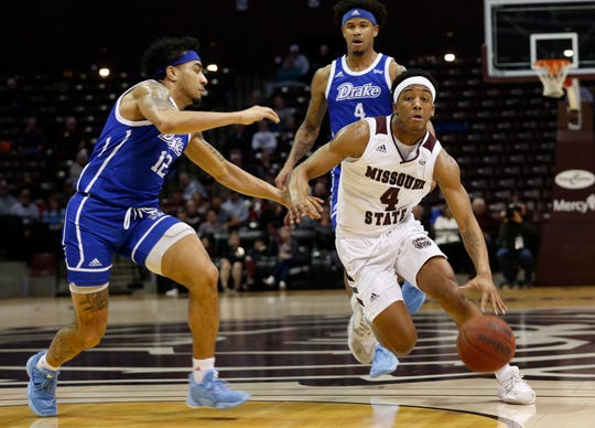 Ja'Monta Black, of Missouri State University, brings the ball down the court during the Bears game against Drake at JQH Arena on Wednesday, Feb. 12, 2020.