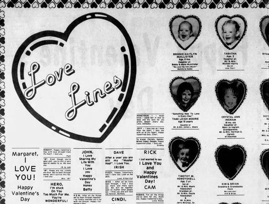 Love lines filled the pages of the Thursday, Feb. 14, 1985, edition of The News Leader.