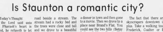 Is Staunton a romantic city? This article from the Friday, Feb. 14, 1975 edition of The News Leader tackled that question.