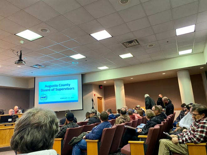 It was standing room only at Wednesday's Augusta County Board of Supervisors meeting due to interest in the future of a local militia. Pictured is a fraction of those who attended.