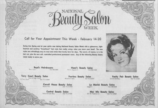 An advertisement for 'National Beauty Salon Week' from the Sunday, February 14, 1965 edition of The News Leader.