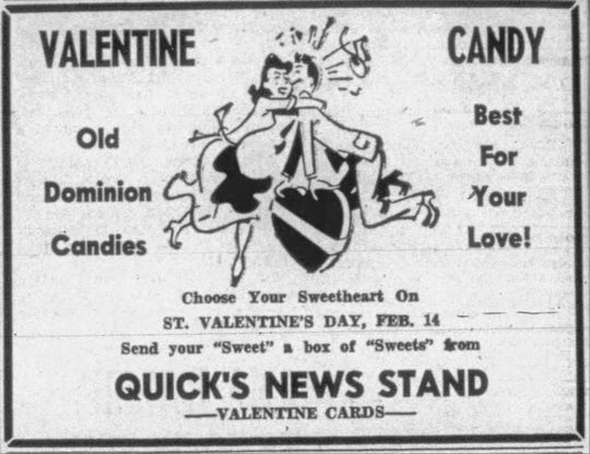 Clipping of an advertisement for Valentine's Day sweets from the Tuesday, Feb. 14, 1950, edition of The News Leader.