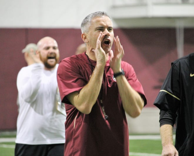 FSU coach Mike Norvell at a Tour of Duty conditioning workout on Feb. 13, 2020.