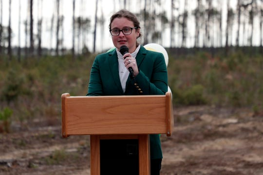 Adrienne Campbell, cofounder and principal of the charter school, Tallahassee Classical, speaks during a groundbreaking ceremony at the site of the future school.