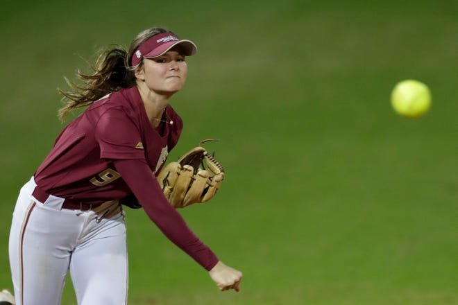 Florida State University's Devyn Flaherty (9) throws during a game between Florida State and Florida A&M University at JoAnne Graf Field Wednesday, Feb. 12, 2020.