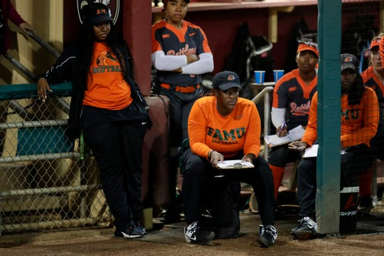 Florida A&M University assistant coach Constance Orr watches from the dugout during a game between Florida State and FAMU at JoAnne Graf Field Wednesday, Feb. 12, 2020.